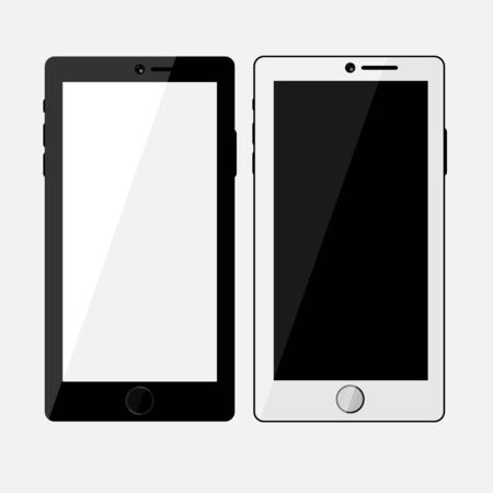 Black and white Mockup smartphone on white background. Mockup smartphone with blank screen. Isolated vector illustration.