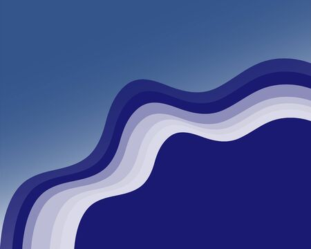 Classic blue abstract background with waves, Classic blue that represents peace, confidence and connection. Ilustracja