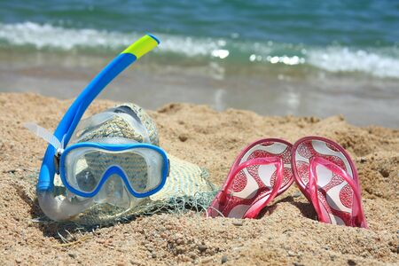 Beach accesories on the sand in Spain Stock Photo
