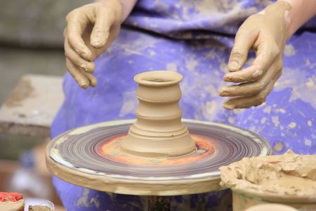 Preparing  the pot is interesting profession photo