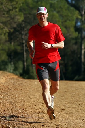 Young runner while training for a competition