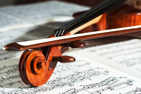 Detail of a beautiful violin with the score Stock Photo