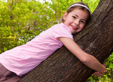 nine years old: Beautiful, nine years old on the tree Stock Photo