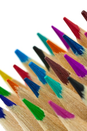 Closeup of many color pencils photo