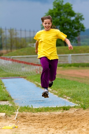 11 year old: 11 year old girl  Long Jump practice