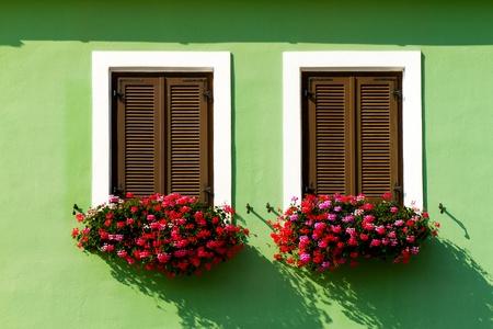 Beautiful floral windows in Austria photo