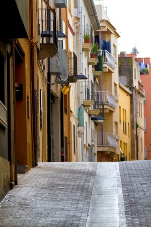 Small street on the Spanish coast (Palamos,Costa Brava) Stock Photo