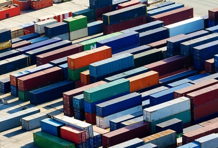 A lot of containers waiting for a landing