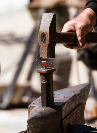 farriery: Iron forging a close up