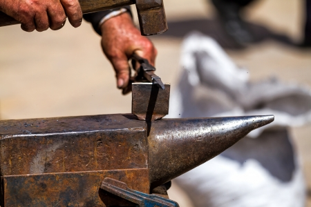 forging: Iron forging a close up