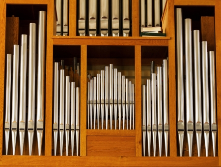 Beautiful wood organ detail Stock Photo