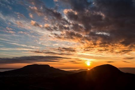 balaton: Sunset landscape at lake Balaton, Hungary Stock Photo