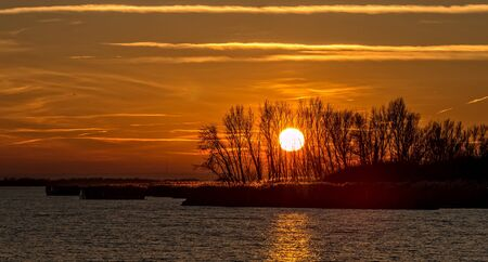 Sunset lights over tke lake