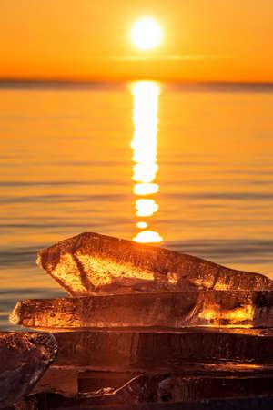 balaton: Winter sunset over the lake Balaton (Hungary)