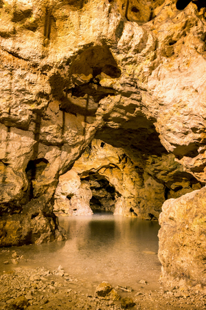 Lighted cave detail from Hungary,Tapolca,The Lake Cave