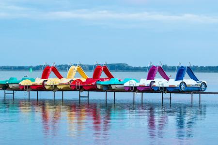 Paddle boats in tke lake Balaton(Hungary)