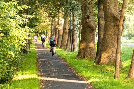 Bike road with bikers photo