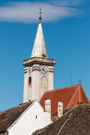 steeple: White steeple from Austria Stock Photo