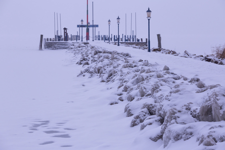 very cold: Very cold winter day on the hungarian harbor, Lake Balaton