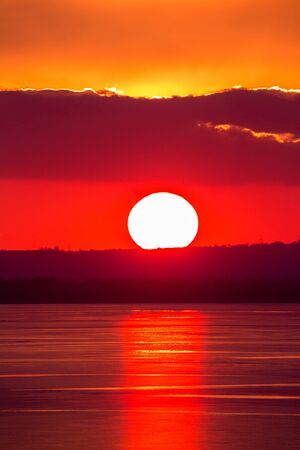 balaton: Beautiful sunset light on winter lake Balaton (Hungary) Stock Photo