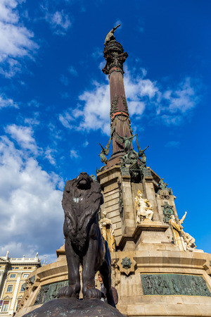 colom: Columbus Monument at the waterfront in Barcelona, Catalonia, Spain.