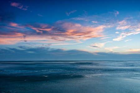 balaton: Blue winter landscape over the lake Balaton of Hungary