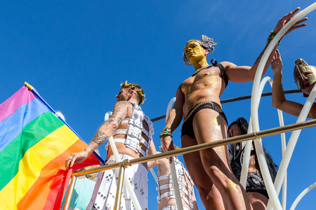 transgender: SITGES - JUNY 19, 2016: Pride of the lesbian, gay, bisexual and transgender People in the streets of Sitges, Spain on Juny 19, 2016.