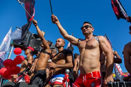 half naked: Sitges,Spain. June 19th, 2016: Half naked members of the gay community on the pride parade 2016 in Sitges Editorial