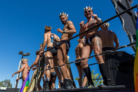 SITGES,SPAIN - JUNY 19, 2016: Pride of the lesbian, gay, bisexual and transgender People in the streets of Sitges, Spain on Juny 19, 2016.