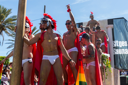 sexual orientation: SITGES,SPAIN - JUNY 19, 2016: Pride of the lesbian, gay, bisexual and transgender People in the streets of Sitges, Spain on Juny 19, 2016.
