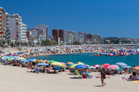 Beach on the Costa Brava (Sant Antoni de Calonge) of Spain, BARCELONA, SPAIN - july 09 2016 Editorial