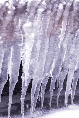 sopel lodu: Cold winter day with many icicle Zdjęcie Seryjne