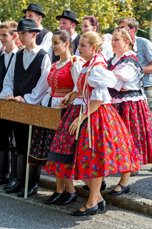 entertaiment: Traditional Hungarian harvest parade on september 11, 2016 in village Badacsony of Hungary.