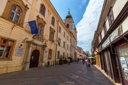 pecs: People walking on the old street in city PECS, HUNGARY - SEPTEMBER 18, 2016 Editorial