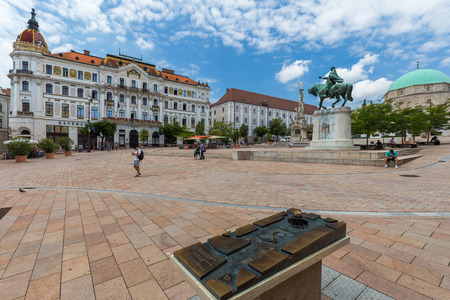 Main Square in Pecs (Szechenyi square), in Southern Hungary,18.august 2016 Editorial