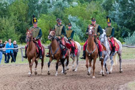 hussar: National horse galopp race from Hungary, (race Festetics, village Gyenesdias), village Gyenesdias, Hungary,21.august 2016