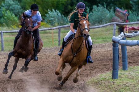 clothe: National horse galopp race from Hungary, (race Festetics, village Gyenesdias), village Gyenesdias, Hungary,21.august 2016