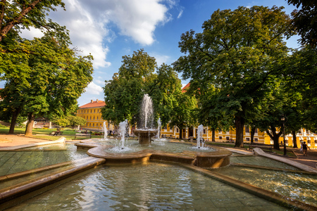 pecs: St. Stephens Square in Pecs of Hungary in 16 august 2016