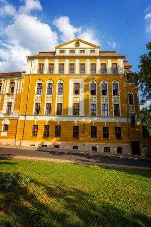 pecs: Old building in city Pecs of Hungary, High Scool Loewey Klara , 16 august 2016