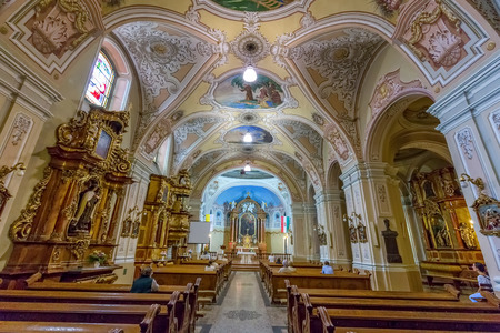 st  francis: Interior in a church in city Pecs of Hungary, (Church St. Francis) 16 august 2016