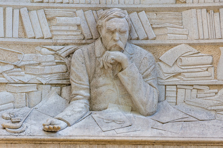 statesman: Statue of Ferenc Deak, Hungarian poet, is located at promenade of Balatonfured town, resort area of Balaton lake, 06 may 2016,Balatonfured, Hungary Editorial