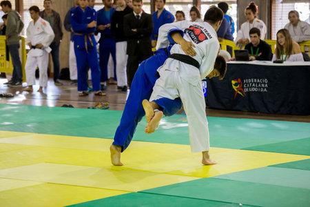 Competitors in Catalan Senior Judo Championships in Barcelona, 29 october 2016, Barcelona Spain Editorial