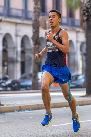 mid distance: Mohamed Zarhouni runner  of 10000m, on Championship runners of firemans Running events , 30 october 2016 in Barcelona, Spain Editorial