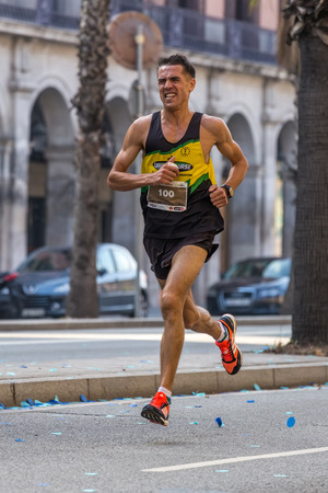 mid distance: Runner of 10000m, on Championship runners of firemans Running events , 30 october 2016 in Barcelona, Spain Editorial