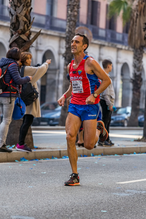 mid distance: Carlos Oriach Chicot runner  of 10000m, on Championship runners of firemans Running events , 30 october 2016 in Barcelona, Spain