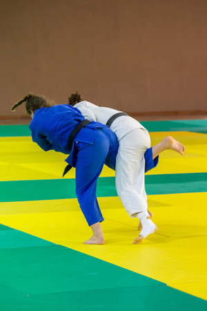 female wrestling: Competitors in Catalan Senior Judo Championships in Barcelona, 29 October 2016, Barcelona Spain