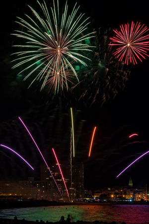 dazzling: Fireworks light up the sky with dazzling display in Palamos, town in Spain Stock Photo