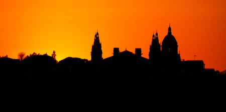 montjuic: Silhouette from a National museum in Barcelona, Spain