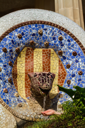 Detail of colorful mosaic work of Park Guell. In 1984 UNESCO declared the park a World Heritage Site under Works of Antoni Gaudi. Barcelona of Spain. 23 october 2013 Editorial