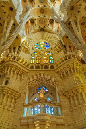 Indoor detail of famous church from Barcelona of Spain, 05 Juny 2012 Editorial